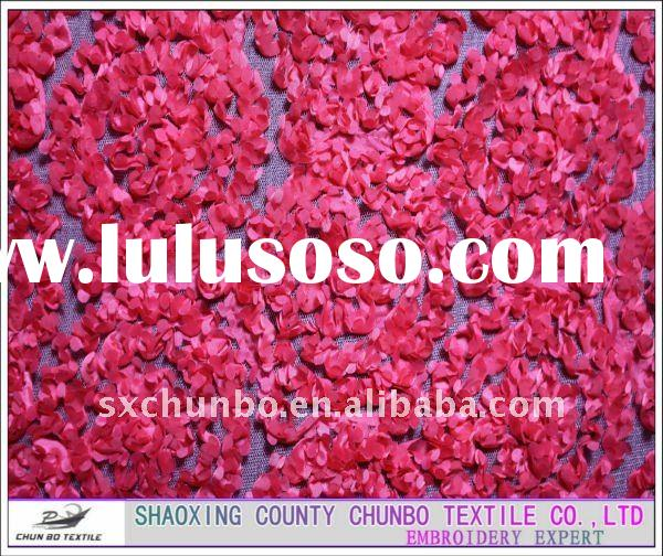 100% polyester mesh fabric and taffeta ribbon rose flower embroidery fabric