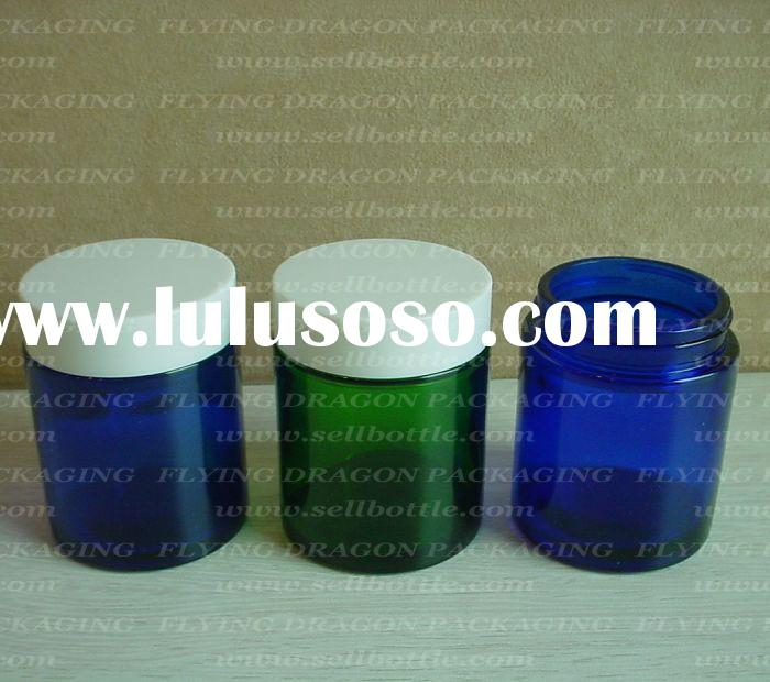 100ml amber/blue/green cosmetic glass jar with plastic cap