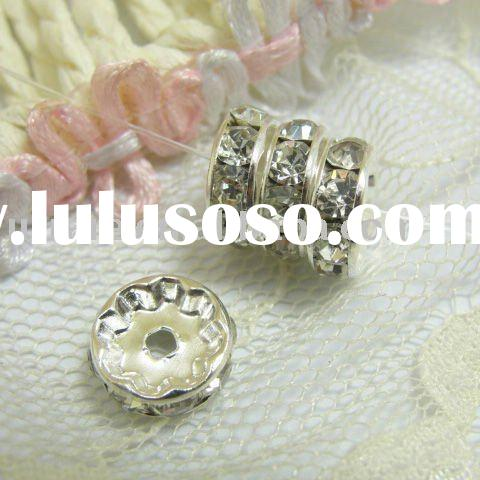 10mm Silver Plated Round Rondelle Crystal Rhinestone Spacer Beads for Jewellery DIY Making