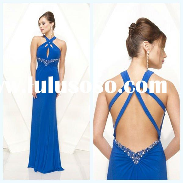 2011 Modern Halter Sheath Sleeveless Backless Sequins& Beaded Flower Sash Chiffon Royal Blue Pro
