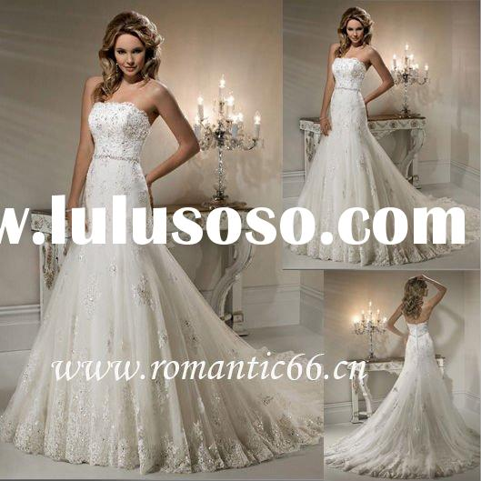 2011 New style tulle strapless mermaid discount wedding dress