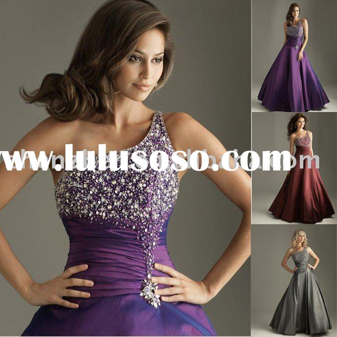 2011 ball gown design, customized one shoulder, taffeta with beadings evening dress ED-433
