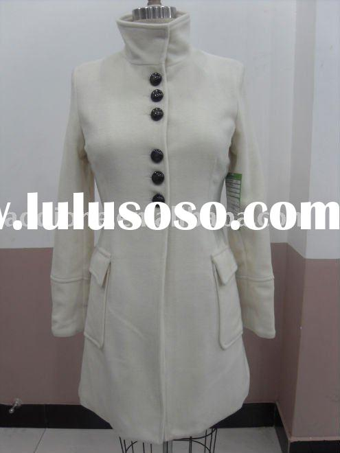 2011 fashion noble white cashmere&wool lady coat