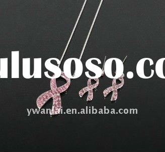 2011 high fashion jewelry set pink ribbon crystal necklace&earring factory direct