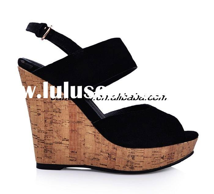2011 latest women wedge black suede high heel sandal,Wooden heel