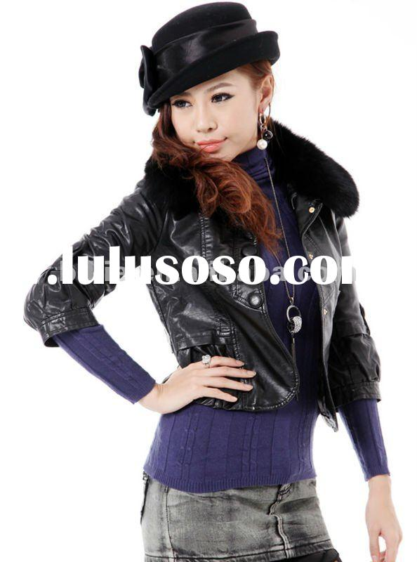 2011 newest style fashion fur collar and leather lady/women jacket