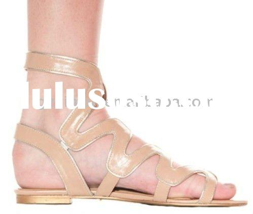 2012 Newest flat leather lady sandals