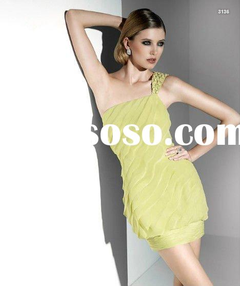 2012 One Shoulder Chiffon Party Dress for Mature Dress 3136