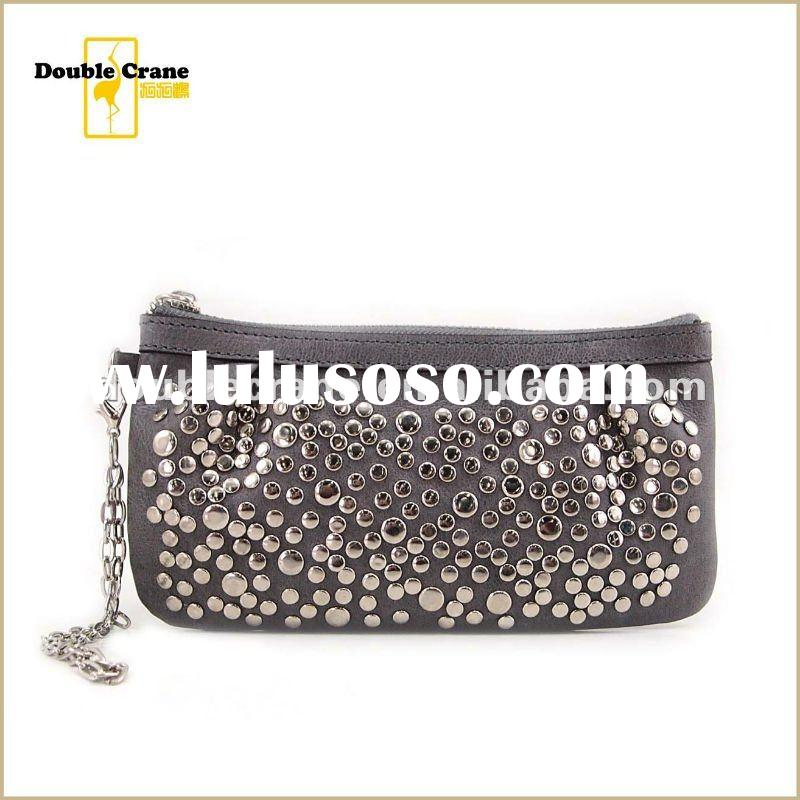 2012 Trendy ladies handmade studs real leather clutch bag
