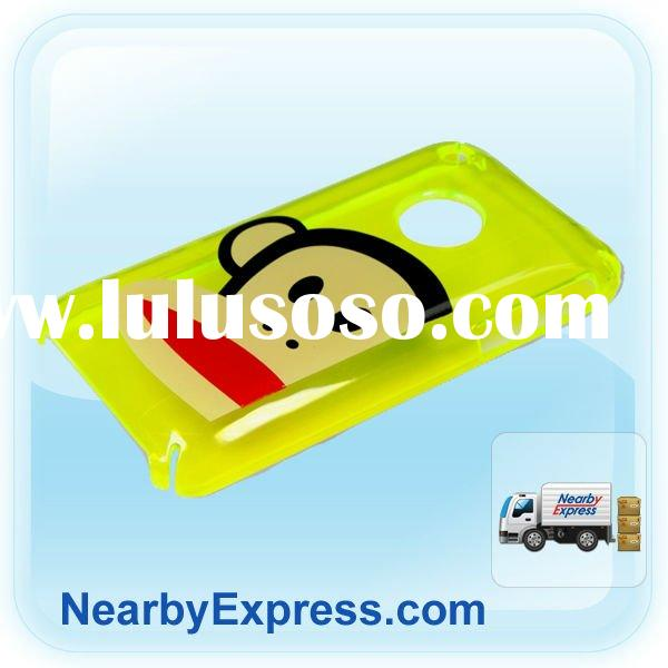 2012 hot Yellow Big Mouth Transparent Protective Back Case with Silk-screen Printing for iPhone 3GS