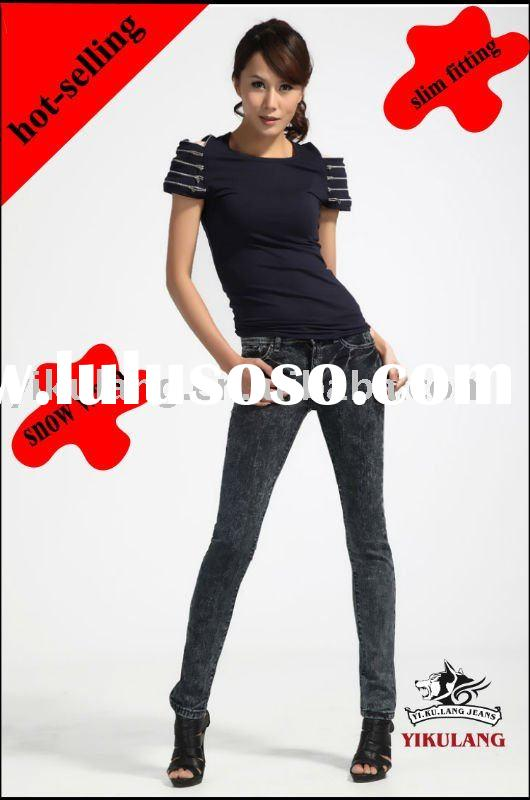 2012 latest design women denim jeans ( snow wash)