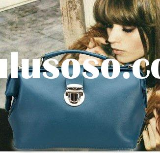 2012 new fashion! Genuine cow leather vintage doctor handbag in blue,red,green,black and brown