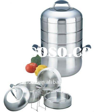 24cm/28cm Silicone Handle Stainless Steel Combination Steamer Pot