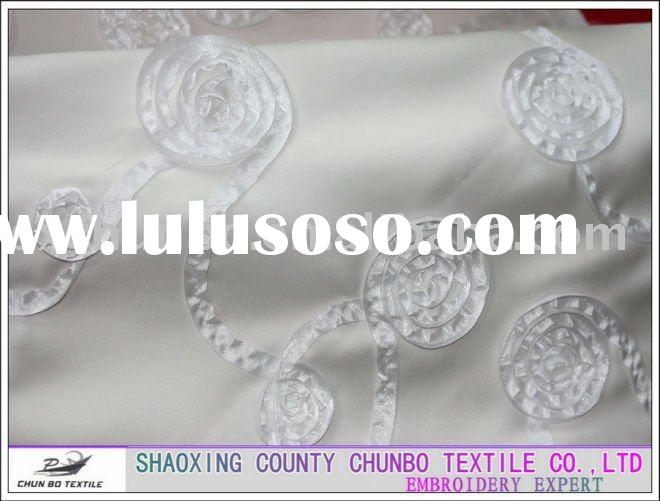 300D 100% polyester rose ribbon embroidery fabric for wedding