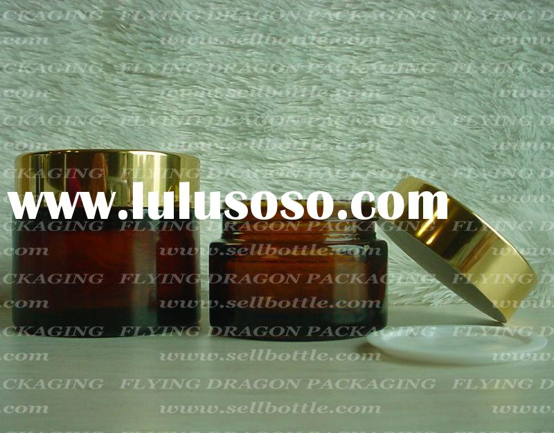 30ml, 60ml, brown/ amber Glass jar with aluminum lid, cosmetic jar, glass cosmetic jar