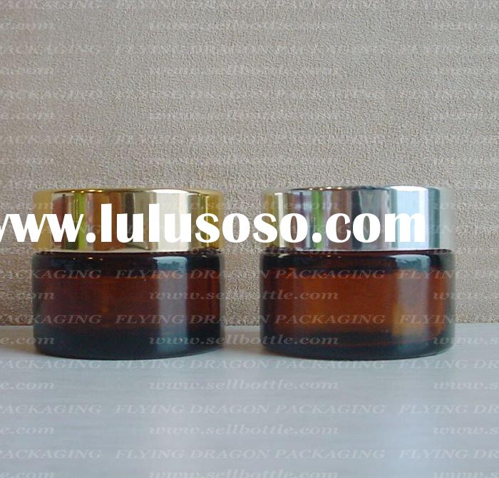 30ml Amber cosmetic glass jar with lid