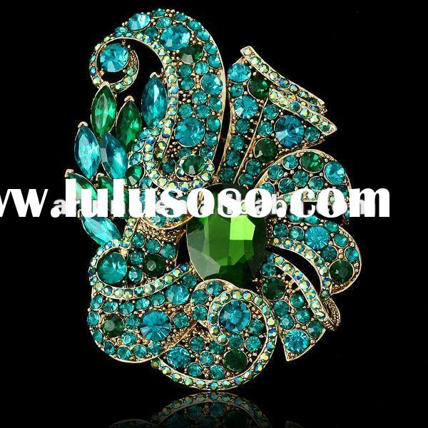 ARINNA Ladies Multi Sapphire Stone Oval Emerald Gemstone Brooch Pin Crystal Booch Pin P0386