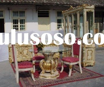 Antique Classical wooden glass top round dining table, dining chairs, home dining room set, hand car