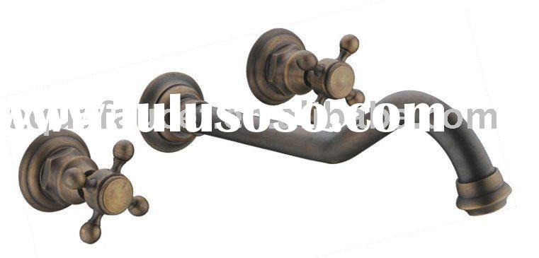 Antique two dual handle wall mount brass bathroom vessel sink vanity lavatory faucet mixer tap