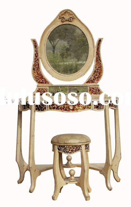 Antiqued Mirrored&Mosaic Glass Wooden Dressing Table