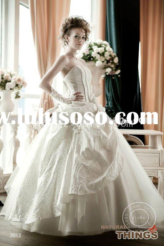 Appliqued bridal lace fabric marriage dress fairy princess dress wedding gown