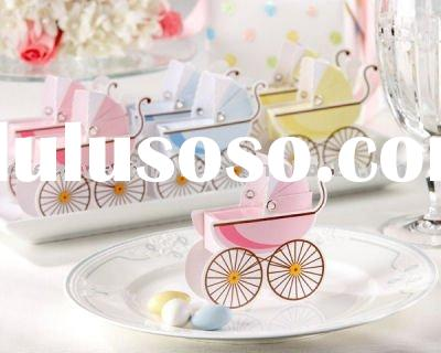 Baby shower--baby carriage favor box in pink and blue color