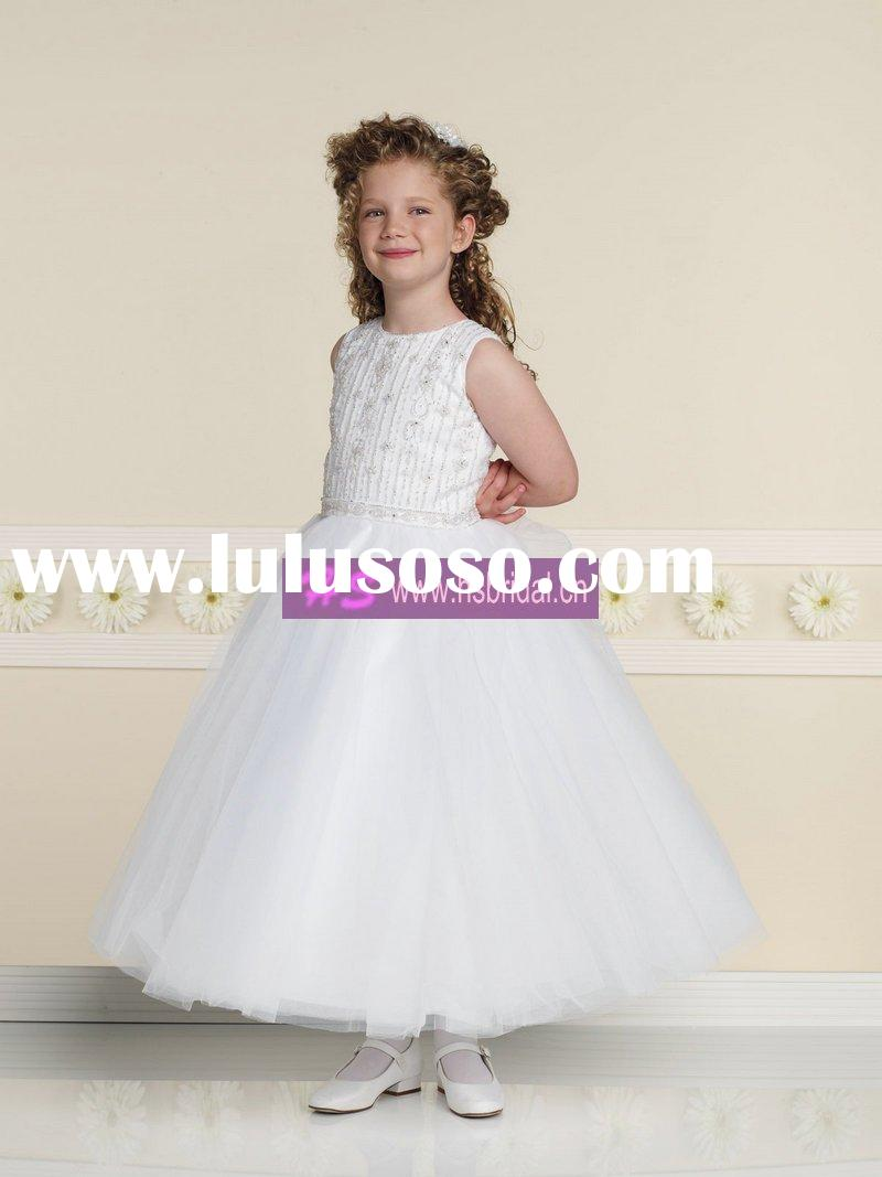 Ball Gown Scoop Satin Tulle Beaded White Flower Girl Dresses