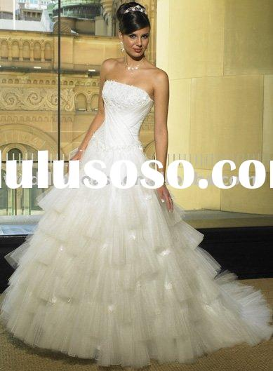 Ball Gown Strapless Sleeveless Ribbons Applique Tulle HS1303