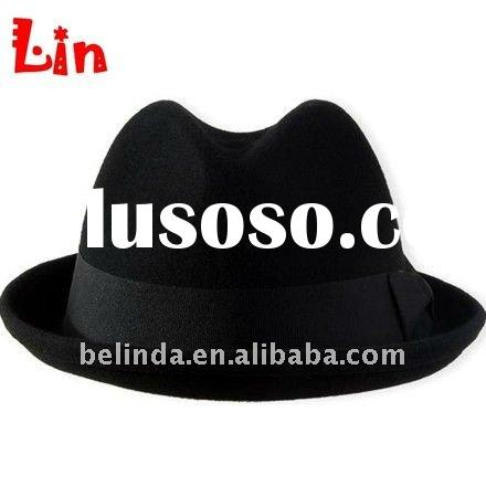 Black winter women fashion fedora hat