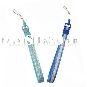 Blue-and-Silver Mobile Cell Phone Nylon Lanyard Hand Wrist Strap Strip