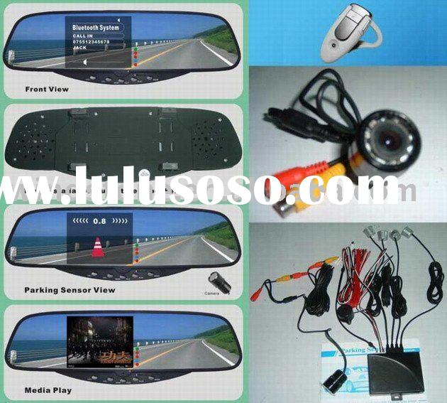 Bluetooth Handsfree Car Kit, Rearview Mirror Wireless FM Earpiece and Parking Sensor