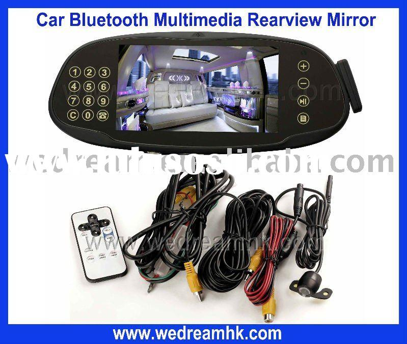Bluetooth rearview mirror with backup camera and parking sensor