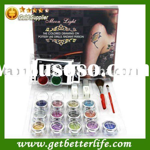Body art temporary tattoo Glitter Tattoo kit 15 color/brushes/glue/tattoo stencil