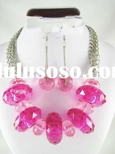 CHUNKY HOT PINK GLASS CRYSTAL NECKLACE SET