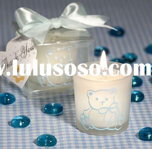 Candle Favors Baby Blue Teddy Bear Themed Christening Favors(Christening Favors)