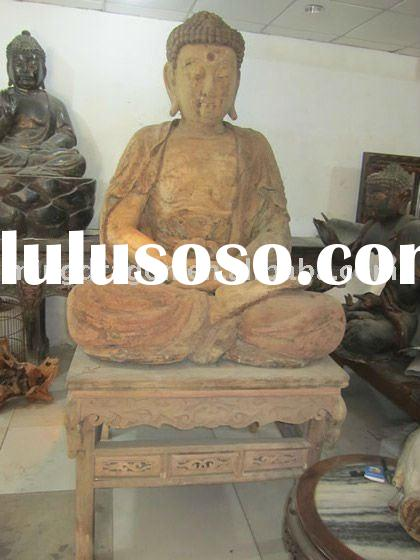 Chinese large hand carved wooden Buddha statue