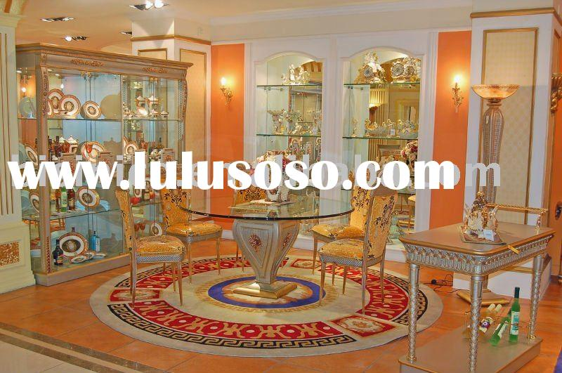 Classical wooden dining room furniture set,glass top round dining table with chair,hand carved,MOQ:1
