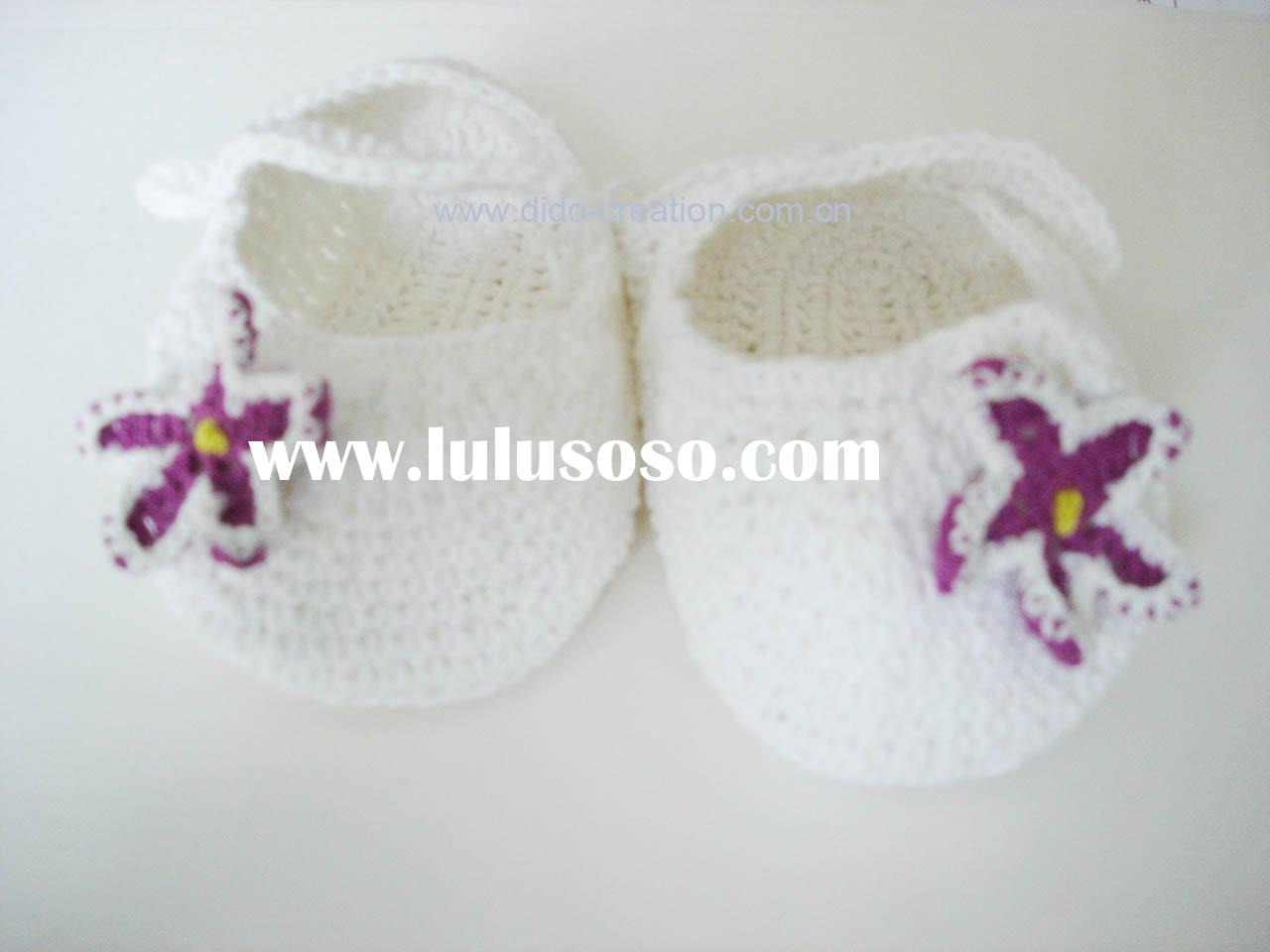 DD07008E Handmade Crochet knit Baby Shoes Flower sea stars footwear for babies White cotton fabric
