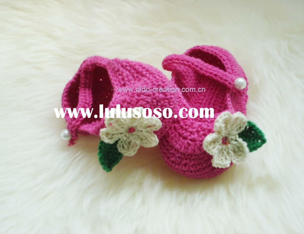 DD07012 Hand Crochet knit Flowers Pink cute Baby Shoes footwear for babies kids girls Cotton fabric