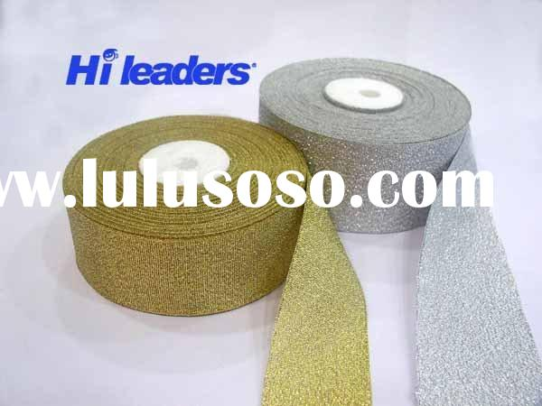 Decorative silver or gold metallic ribbon
