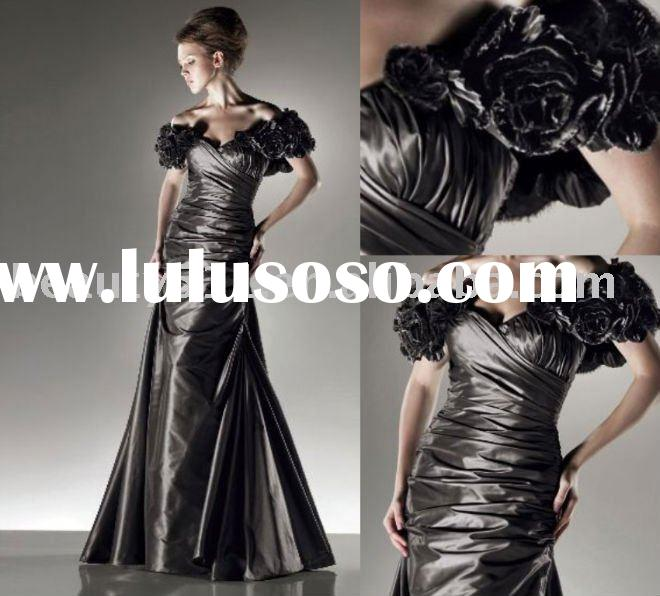 E005QL 2011 high quality charming style taffeta made flower appliqued evening dress
