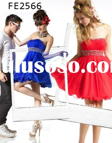 FE2566 Red Organza Sleeveless Cheap Party Dress