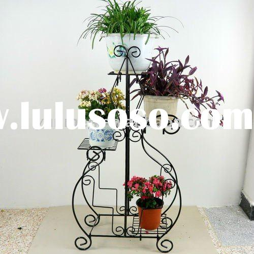 FG018H-garden decoration Black Metal flower pot stand /flower holder