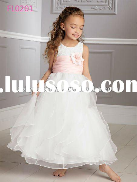 FL0201 Floor Length Sleeveless Cinderella Flower Girls Dresses