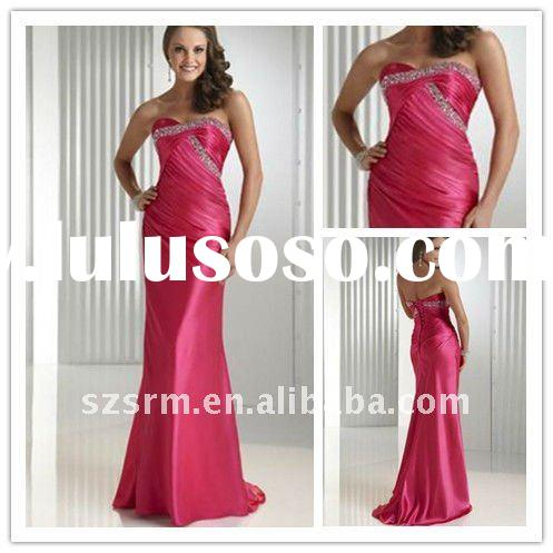 Fashion Arabic Shiny Strapless Beads Long Formal Evening Dress 2012