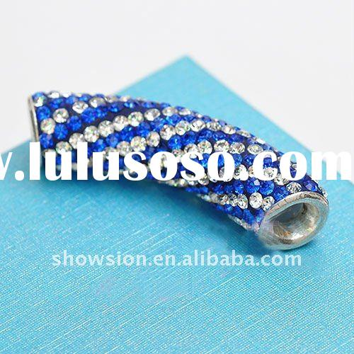 Fashion Crystal Rhinestone Spacer Bead/Multi-color Curved Tube with Crystal/Alloy Crystal Pave Bead