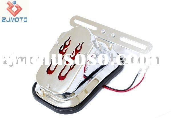 Flame Taillight Assembly Chrome Fits Harleys, Choppers, Custom High quality Chrome Tail light fat bo