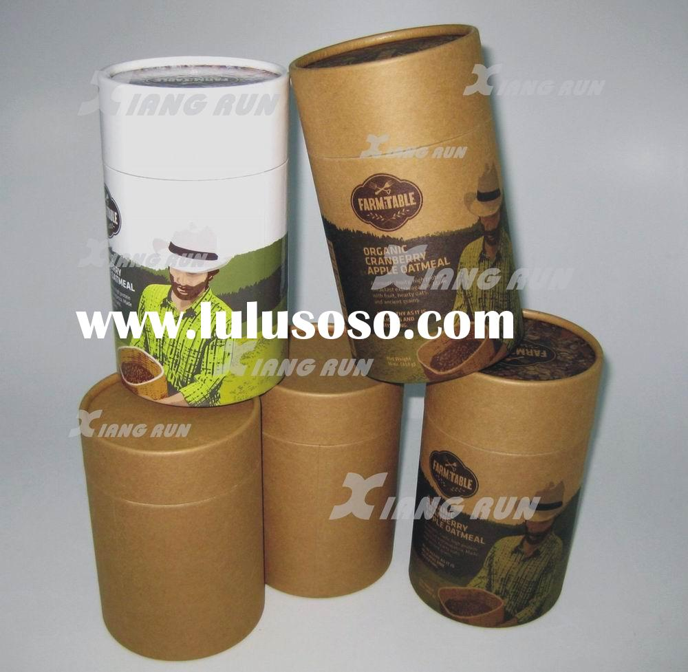 Food packaging paper tube paper canister natural paper for Kraft paper craft tubes