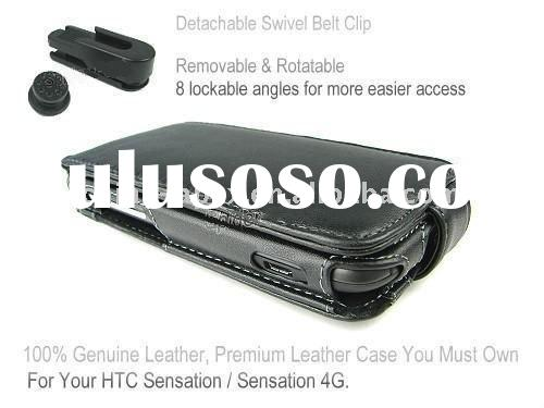 Genuine Leather Flip Case with belt clip for HTC Sensation