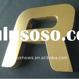 Golden coated metal letters, metallic letters, letter cut out sign